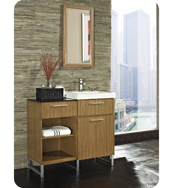 "Fairmont Designs 176-V21_DB1818_FOOT Metropolitan 39"" Modular Modern Bathroom Vanity and Sink Set in Teak"