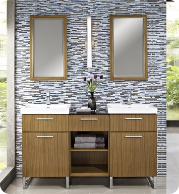 "Fairmont Designs 176-V21_DB1818_V21 Metropolitan 60"" Modular Modern Bathroom Vanity and Sink Set in Teak"