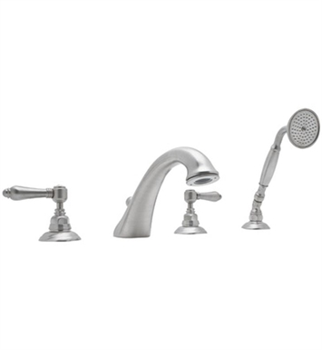 Rohl A1464LP-STN Viaggio 4-Hole Deck Mount C-Spout Tub Filler With Handshower With Finish: Satin Nickel And Handles: Porcelain Lever Handles