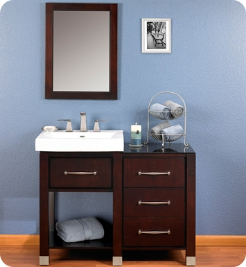 "Fairmont Designs 145-V2418A_DB1818_LEG Midtown 44"" Modular Open Shelf Modern Bathroom Vanity in Espresso"