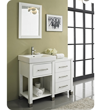 "Fairmont Designs 144-V2418A_DB1818_LEG Midtown 44"" Modular Open Shelf Modern Bathroom Vanity in Gloss White"