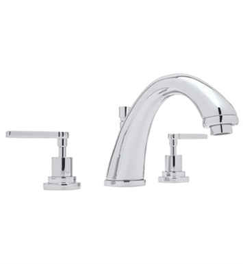 Rohl A1284XM-STN Avanti 3-Hole Deck Mount C-Spout Tub Filler With Finish: Satin Nickel And Handles: Avanti Metal Cross Handles