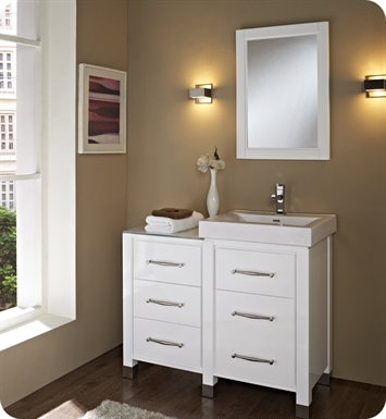 "Fairmont Designs 144-V2418B_DB1818_LEG Midtown 44"" Modular Modern Bathroom Vanity in Gloss White"