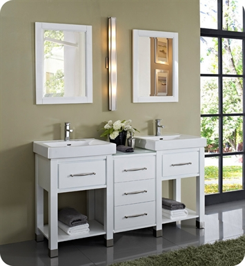 "Fairmont Designs 144-V2418A_DB1818_V2418A Midtown 64"" Modular Open Shelf Modern Bathroom Vanity in Gloss White"