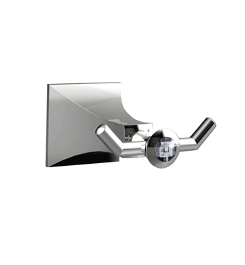 Santec 9266DC15 Edo Crystal Two Point Robe Hook With Finish: Satin Chrome <strong>(USUALLY SHIPS IN 1-2 WEEKS)</strong>