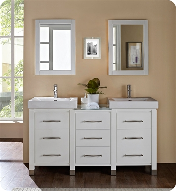 "Fairmont Designs 144-V2418B_DB1818_V2418B Midtown 64"" Modular Modern Bathroom Vanity in Gloss White"