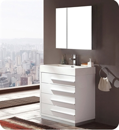 "Fresca Livello 30"" White Modern Bathroom Vanity with Medicine Cabinet"