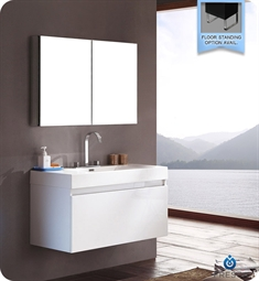 Fresca FVN8010WH Mezzo Modern Bathroom Vanity with Medicine Cabinet in White