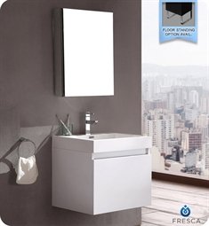 Fresca Nano White Modern Bathroom Vanity with Medicine Cabinet