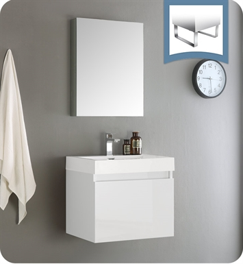 Fresca FVN8006WH Nano Modern Bathroom Vanity with Medicine Cabinet in White