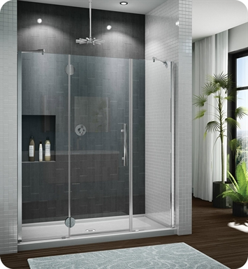 "Fleurco PXTP66-11-40L-R-B Platinum In Line Door and 2 Panels with Glass to Glass Hinges and Pivot Support Bar With Dimensions: Width: 66 1/2"" to 67 3/4"" Approx. Entry: 26"" And Hardware Finish: Bright Chrome And Glass Type: Clear Glass And Door Direction: Left And Shower Door Handles: Curved And Shower Door Hinges: Round"