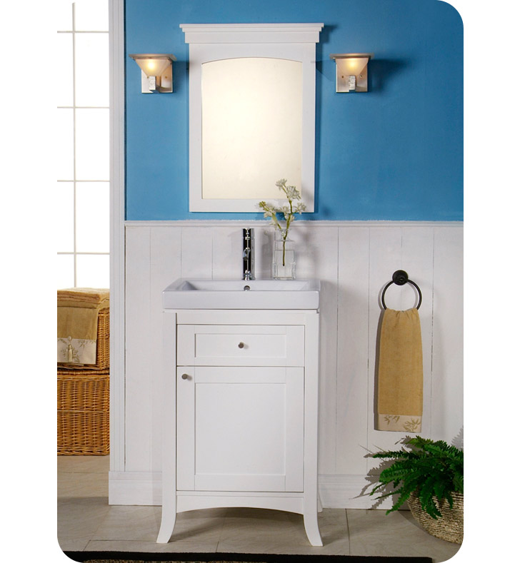Fairmont Designs 185 V21 Shaker 21 Modern Bathroom Vanity And Sink Set In Polar White