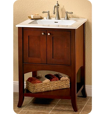 "Fairmont Designs 125-VH24 Shaker 24"" Open Shelf Modern Bathroom Vanity in Dark Cherry"