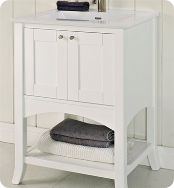 "Fairmont Designs 185-VH24 Shaker 24"" Open Shelf Modern Bathroom Vanity in Polar White"