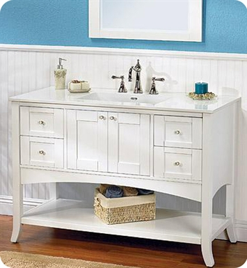 "Fairmont Designs Shaker 49"" Open Shelf Modern Bathroom Vanity in Polar White"