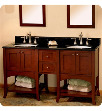 "Fairmont Designs 125-VH24_DB12-H_VH24 Shaker 61"" Open Shelf Modular Modern Bathroom Vanity in Dark Cherry"