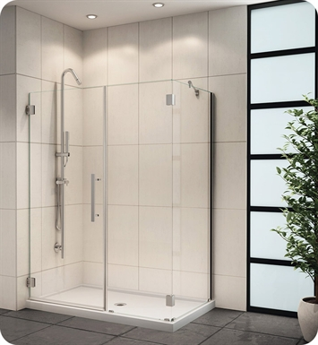 "Fleurco PXKR4436-25-40L-R-A Platinum Kara Shower Door and Panel with Return Panel and Support Bar System With Dimensions: Width: 43 7/8"" to 44 1/4"" Return Panel: 36"" Approx. Entry: 21"" And Hardware Finish: Brushed Nickel And Glass Type: Clear Glass And Door Direction: Left And Shower Door Handles: Straight And Shower Door Hinges: Round"