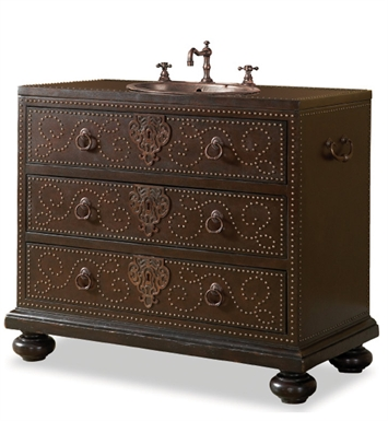 "[INACTIVE]Cole+Co Bellamy 43"" Antique Bathroom Vanity with Countertop and Leather from Designer Series Collection"
