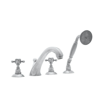 Rohl A1804XC-STN Hex 4-Hole Deck Mount Hex Spout Tub Filler With Handshower With Finish: Satin Nickel And Handles: Crystal Cross Handles