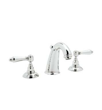 Rohl A2108LP-STN San Julio 3-Hole Widespread C-Spout Lavatory Faucet With Finish: Satin Nickel And Handles: Porcelain Lever Handles