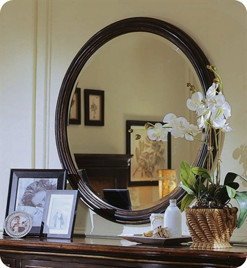 Cole+Co 13.22.222238.05 Hudson Round Mirror with Cherry Finish from Designer Series Collection
