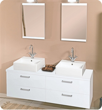Nameeks A11-GW Iotti Modern Bathroom Vanity Set from Aurora Collection With Finish: Glossy White