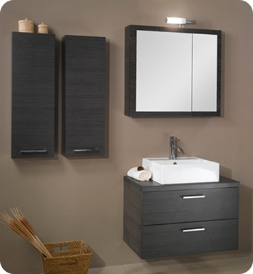 Nameeks A18-GO Iotti Modern Bathroom Vanity Set from Aurora Collection With Finish: Gray Oak
