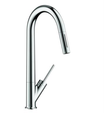 "Hansgrohe 10821801 Axor Starck 9 1/4"" Single Handle Deck Mounted 2-Spray High-Arc Pull-Down Kitchen Faucet With Finish: Steel Optik"