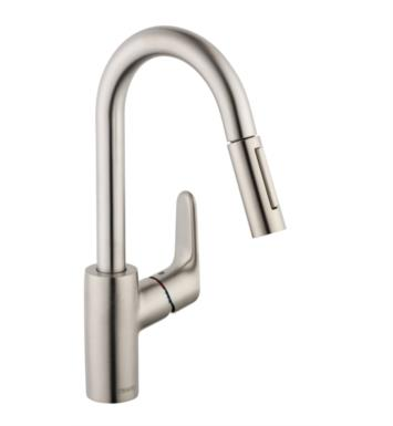 "Hansgrohe 04506801 Focus 7 3/8"" Single Handle Deck Mounted 2-Spray High-Arc Prep Pull-Down Kitchen Faucet With Finish: Steel Optik"