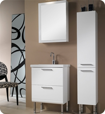 Nameeks L12-GW Iotti Modern Bathroom Vanity Set from Luna Collection With Finish: Glossy White