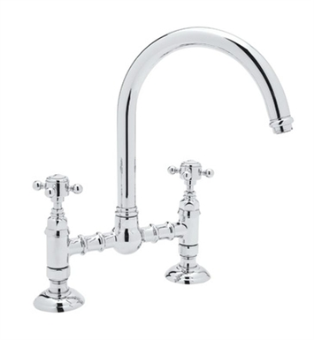 Rohl A1461X-APC Country Kitchen C-Spout Bridge Faucet With Finish: Polished Chrome And Handles: Five Spoke Metal Handles
