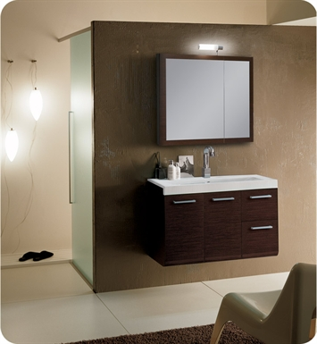Nameeks LE1-W Iotti Modern Bathroom Vanity Set from Linear Collection With Finish: Wenge