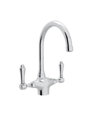 "Rohl A1676LP-STN Country Kitchen 7 1/2"" Deck Mounted C-Spout Kitchen Faucet"