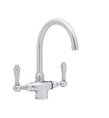 Rohl A1676LP-STN Single Hole C-Spout Country Kitchen Faucet With Finish: Satin Nickel And Handles: Porcelain Lever Handles