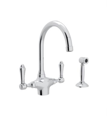 "Rohl A1676WS Country Kitchen 7 1/2"" Deck Mounted C-Spout Kitchen Faucet with Sidespray"
