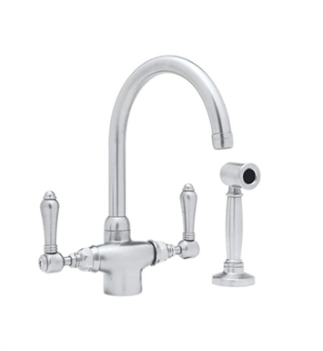 Rohl A1676WSLP-PN Single Hole C-Spout Country Kitchen Faucet With Sidespray With Finish: Polished Nickel And Handles: Porcelain Lever Handles
