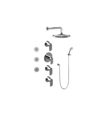 Graff GB1.132A-LM45S-BNI Phase Contemporary Square Thermostatic Set with Body Sprays and Handshower With Finish: Brushed Nickel And Rough / Valve: Trim + Rough