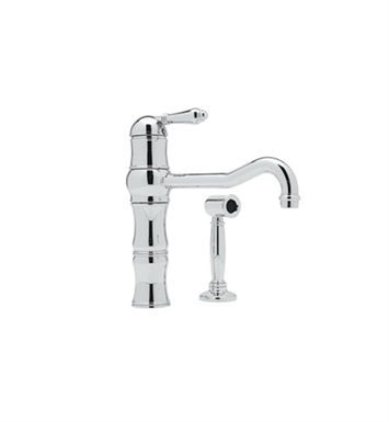 Rohl A3479WSLP-PN Single Hole Country Kitchen Faucet With Sidespray With Finish: Polished Nickel And Handles: Porcelain Lever Handles