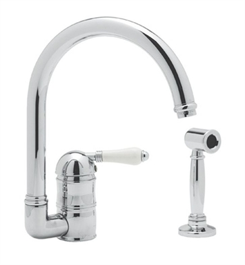 Rohl A3606WSLM-APC C-Spout Country Kitchen Faucet With Sidespray With Finish: Polished Chrome And Handles: Metal Lever Handles
