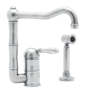 Rohl A3608-11WSLP-STN Single Hole Country Kitchen Faucet With Extended Spout, Sidespray With Finish: Satin Nickel And Handles: Porcelain Lever Handles