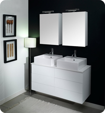 Nameeks NT4-GW Iotti Modern Bathroom Vanity Set from Time Collection With Finish: Glossy White