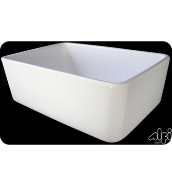 ALFI Brand AB503-W 24 Inch Smooth Small Fireclay Farmhouse Kitchen Sink in White
