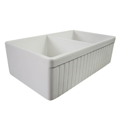 Alfi AB537-W Double Basin Farmhouse Fireclay Kitchen Sink in White