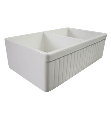 ALFI Brand AB537-W Double Basin Farmhouse Fireclay Kitchen Sink in White