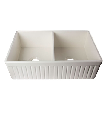 ALFI Brand AB537-B Double Basin Farmhouse Fireclay Kitchen Sink in Biscuit