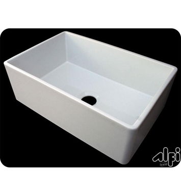 Alfi AB510-W 30 Inch Single Hole Contemporary Smooth Fireclay Farmhouse Kitchen Sink in White