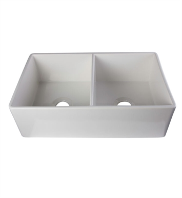 ALFI Brand AB538-W Double Bowl Fireclay Farmhouse Kitchen Sink in White