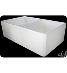 Alfi Brand AB538-B W Double Bowl Fireclay Farmhouse Kitchen Sink in Biscuit
