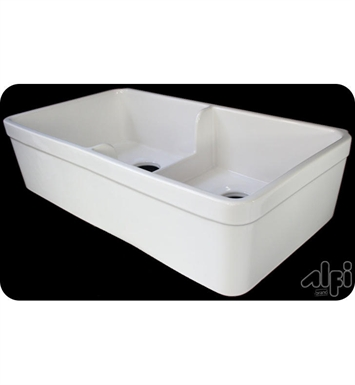 ALFI Brand AB5123-B Short Wall Double Bowl Fireclay Farmhouse Kitchen Sink in Biscuit