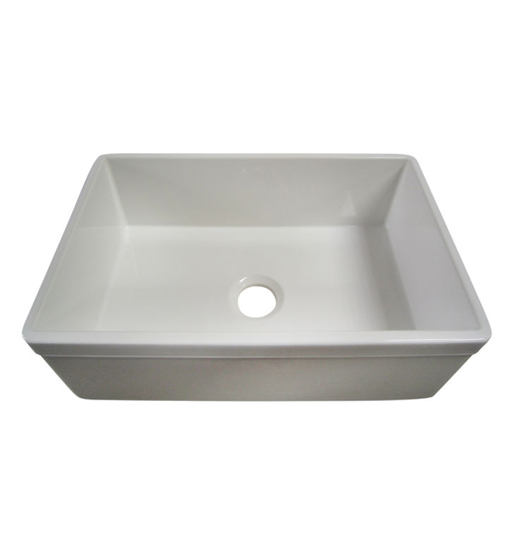 Brand AB511-W Decorative Lip Single Bowl Fireclay Farmhouse Kitchen ...
